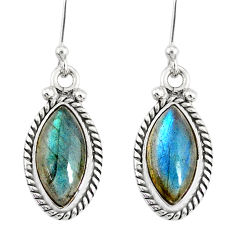 925 sterling silver 9.37cts natural blue labradorite dangle earrings r77296