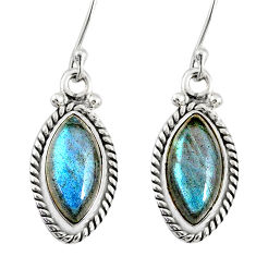 925 sterling silver 10.27cts natural blue labradorite dangle earrings r77300