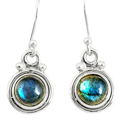 925 sterling silver 3.42cts natural blue labradorite dangle earrings r77318