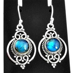 925 sterling silver 6.72cts natural blue labradorite dangle earrings t4052