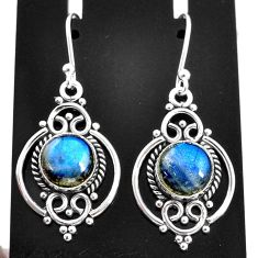 925 sterling silver 6.70cts natural blue labradorite dangle earrings t4058