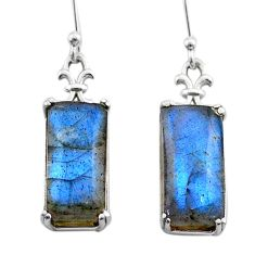 925 sterling silver 10.11cts natural blue labradorite dangle earrings t44604