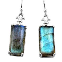 925 sterling silver 11.65cts natural blue labradorite dangle earrings t44608
