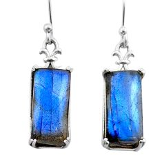 925 sterling silver 12.17cts natural blue labradorite dangle earrings t44612