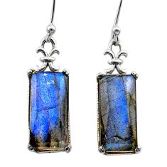 925 sterling silver 11.54cts natural blue labradorite dangle earrings t44616