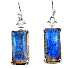 925 sterling silver 11.15cts natural blue labradorite dangle earrings t44619