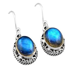 925 sterling silver 6.58cts natural blue labradorite dangle earrings t46815