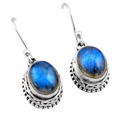925 sterling silver 6.36cts natural blue labradorite dangle earrings t46834
