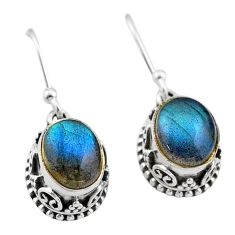 925 sterling silver 6.10cts natural blue labradorite dangle earrings t46858