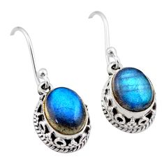 925 sterling silver 5.82cts natural blue labradorite dangle earrings t46872