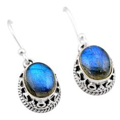 925 sterling silver 5.56cts natural blue labradorite dangle earrings t46875