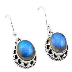 925 sterling silver 5.82cts natural blue labradorite dangle earrings t46896