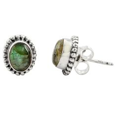 925 sterling silver 3.21cts natural blue labradorite stud earrings r22837
