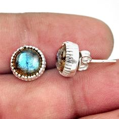 925 sterling silver 5.74cts natural blue labradorite stud earrings r38548