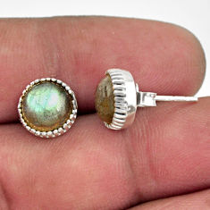 925 sterling silver 5.45cts natural blue labradorite stud earrings r38551