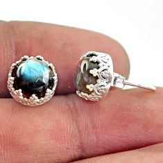 925 sterling silver 6.21cts natural blue labradorite stud earrings r38592