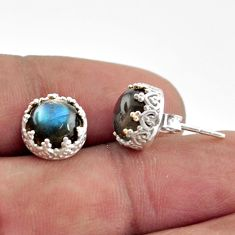 925 sterling silver 5.76cts natural blue labradorite stud earrings r38596