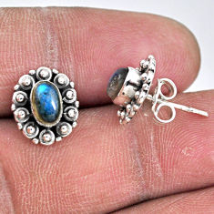 925 sterling silver 2.72cts natural blue labradorite stud earrings r55131