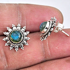 925 sterling silver 2.78cts natural blue labradorite stud earrings r55178