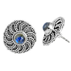 925 sterling silver 1.70cts natural blue labradorite stud earrings r59718