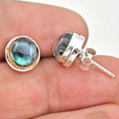 925 sterling silver 5.87cts natural blue labradorite stud earrings t19374