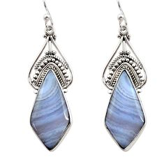 925 sterling silver 15.08cts natural blue lace agate dangle earrings r30309