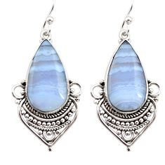 925 sterling silver 15.65cts natural blue lace agate dangle earrings r30314