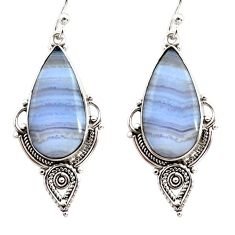 925 sterling silver 15.65cts natural blue lace agate dangle earrings r30317