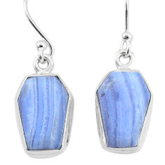 925 sterling silver 9.80cts natural blue lace agate dangle earrings t3667