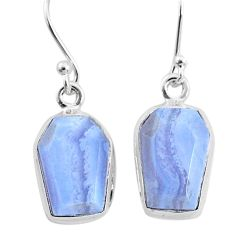 925 sterling silver 9.80cts natural blue lace agate dangle earrings t3697