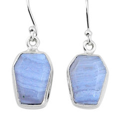 925 sterling silver 9.87cts natural blue lace agate dangle earrings t3700