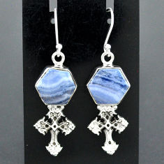 925 sterling silver 10.35cts natural blue lace agate holy cross earrings r96784