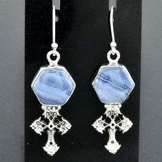 925 sterling silver 10.02cts natural blue lace agate holy cross earrings r96787