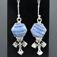 925 sterling silver 10.02cts natural blue lace agate holy cross earrings r96807