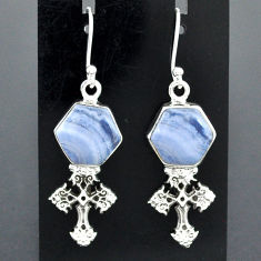 925 sterling silver 10.23cts natural blue lace agate holy cross earrings r96814