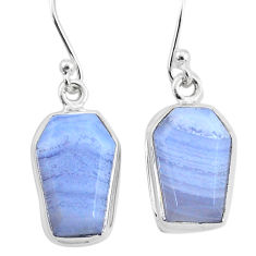 925 sterling silver 10.76cts natural blue lace agate dangle earrings t3716