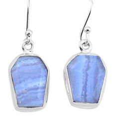 925 silver 9.22cts natural blue lace agate dangle earrings jewelry t3720