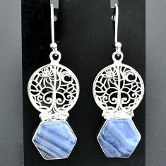 925 sterling silver 9.65cts natural blue lace agate tree of life earrings r96795