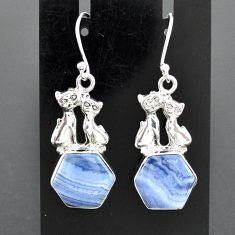 925 sterling silver 10.02cts natural blue lace agate two cats earrings r96790