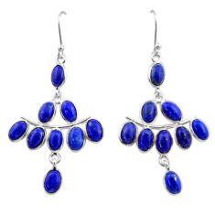 925 sterling silver 14.18cts natural blue lapis lazuli chandelier earrings t1844