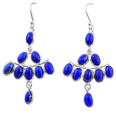 925 sterling silver 14.91cts natural blue lapis lazuli chandelier earrings t1847