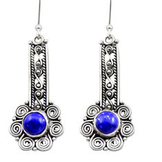 Clearance Sale- 925 sterling silver 2.63cts natural blue lapis lazuli dangle earrings d40891