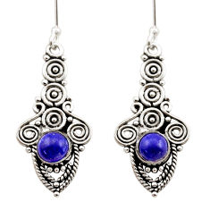 Clearance Sale- 925 sterling silver 2.44cts natural blue lapis lazuli dangle earrings d40895