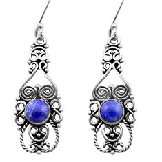 925 sterling silver 2.35cts natural blue lapis lazuli dangle earrings d40907