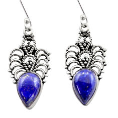 925 sterling silver 8.69cts natural blue lapis lazuli dangle earrings d40910
