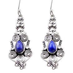 925 sterling silver 4.53cts natural blue lapis lazuli dangle earrings d40920