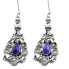 925 sterling silver 4.21cts natural blue lapis lazuli dangle earrings d40924