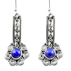 925 sterling silver 2.85cts natural blue lapis lazuli dangle earrings d40931