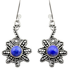 925 sterling silver 2.35cts natural blue lapis lazuli dangle earrings d40936