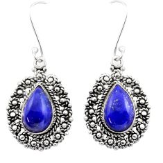 925 sterling silver 10.66cts natural blue lapis lazuli dangle earrings d40964